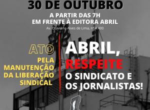 Sindicato fará ato em frente à Abril para manter liberação sindical do presidente