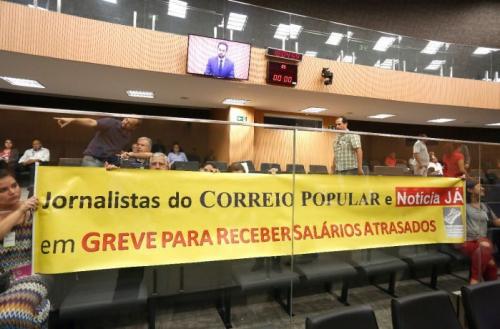 Ato dos jornalistas da RAC fazem protesto na Câmara Municipal de Campinas. Foto: Gustavo Tilio