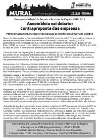 Boletim Mural 1273 - Campanha Salarial de Jornais e Revistas da Capital 2018-2019