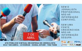 Neste Dia do Jornalista, entidades organizam ato virtual. Participe!