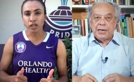 No 8º dia de greve, jornalistas recebem apoios da jogadora Marta e de Trajano