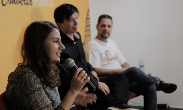 Patrícia Figueiredo, repórter do Truco, da Pública com Edgard Matsuki e Gilmar Lopes. Foto: Pedro Prado/Agência Pública
