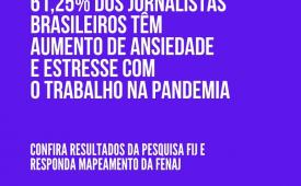 Pesquisa FIJ: 61,25% dos jornalistas brasileiros têm aumento de ansiedade e estresse com o trabalho na pandemia