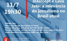 Sindicato dos Jornalistas debate caso Intercept e relevância do jornalismo no Brasil de hoje